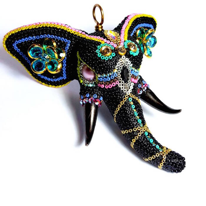 Close up of the Black Beaded Elephant with Tusks Pendant