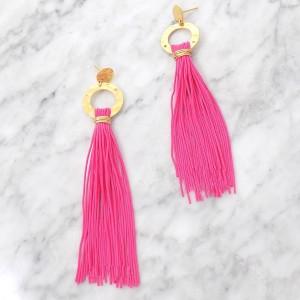 clover pink tassel earrings handmade