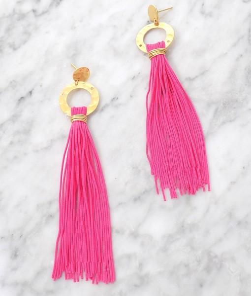 clover pink tassel earrings handmade