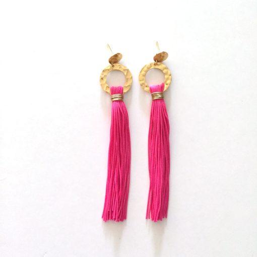 clover pink tassel earrings white background