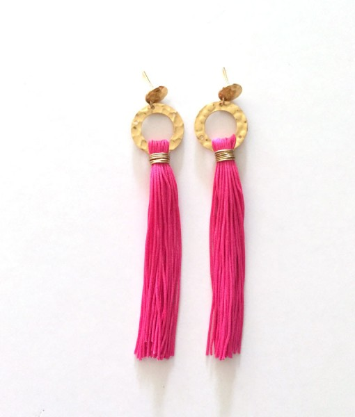 clover pink tassel earrings white background