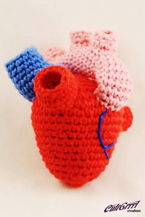Crochet Heart Knitted Art by Cultgrrrl Creations Pop Shop America Craft Blog