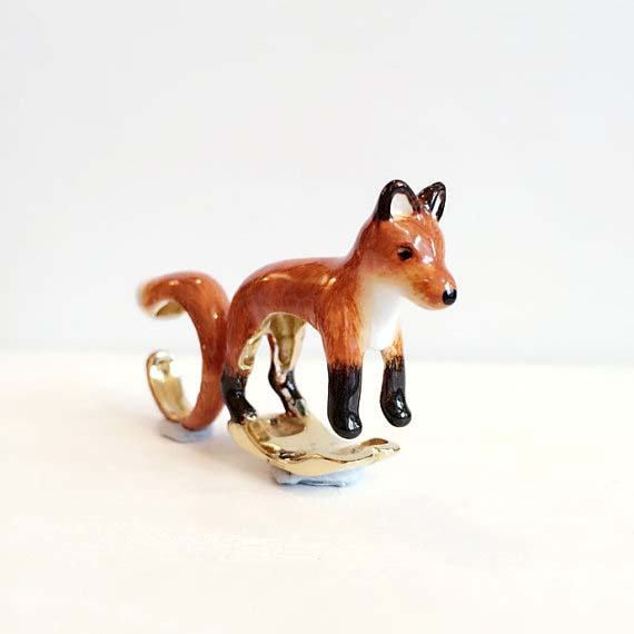 handmade enamel fox ring mary lou etsy shop