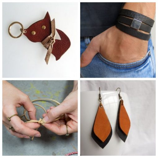 leather collage for diy workshop