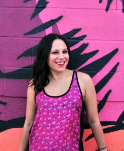 super cute michelle wearing hot pink floral rickshaw tank