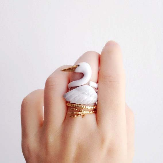 swan ring animal rings by mary lou etsy shop