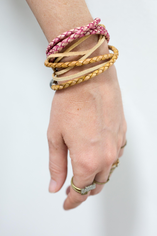 boho leather bracelet easy diy tutorial featured image fashion shot