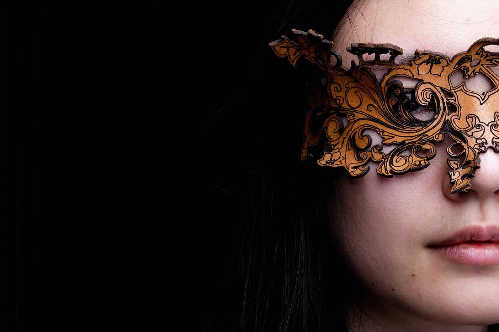 wanjun wearing seasons studios laser cut leather mask
