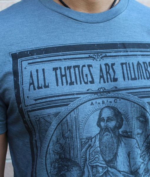 Pythagoras All Things are Numbers T-Shirt Men's T-Shirt for Math Geeks by Vincent Fink of Point 506 Handmade Clothing