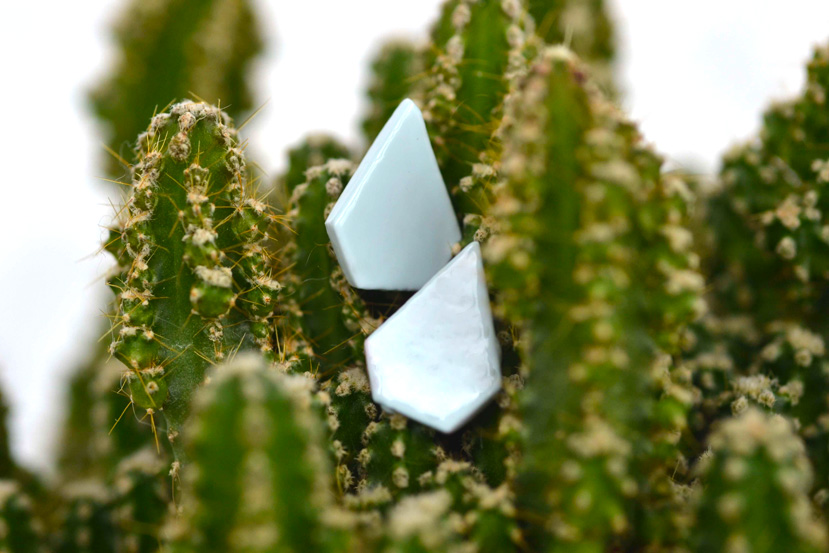 DIY Geometric Clay Earrings in Baby Blue Make Your Own Diamond Shaped Earrings out of Clay
