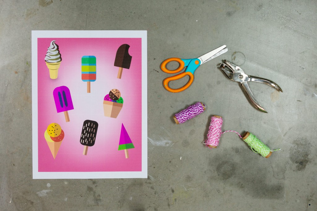 free printable ice cream cones with supplies