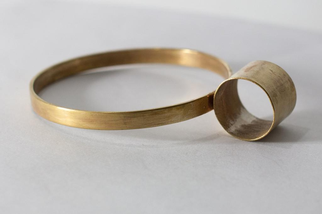 lee lewis houston jewelry handmade brass bangle geometric jewelry