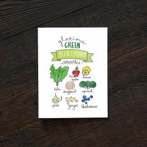 glorious green birthday smoothie birthday card