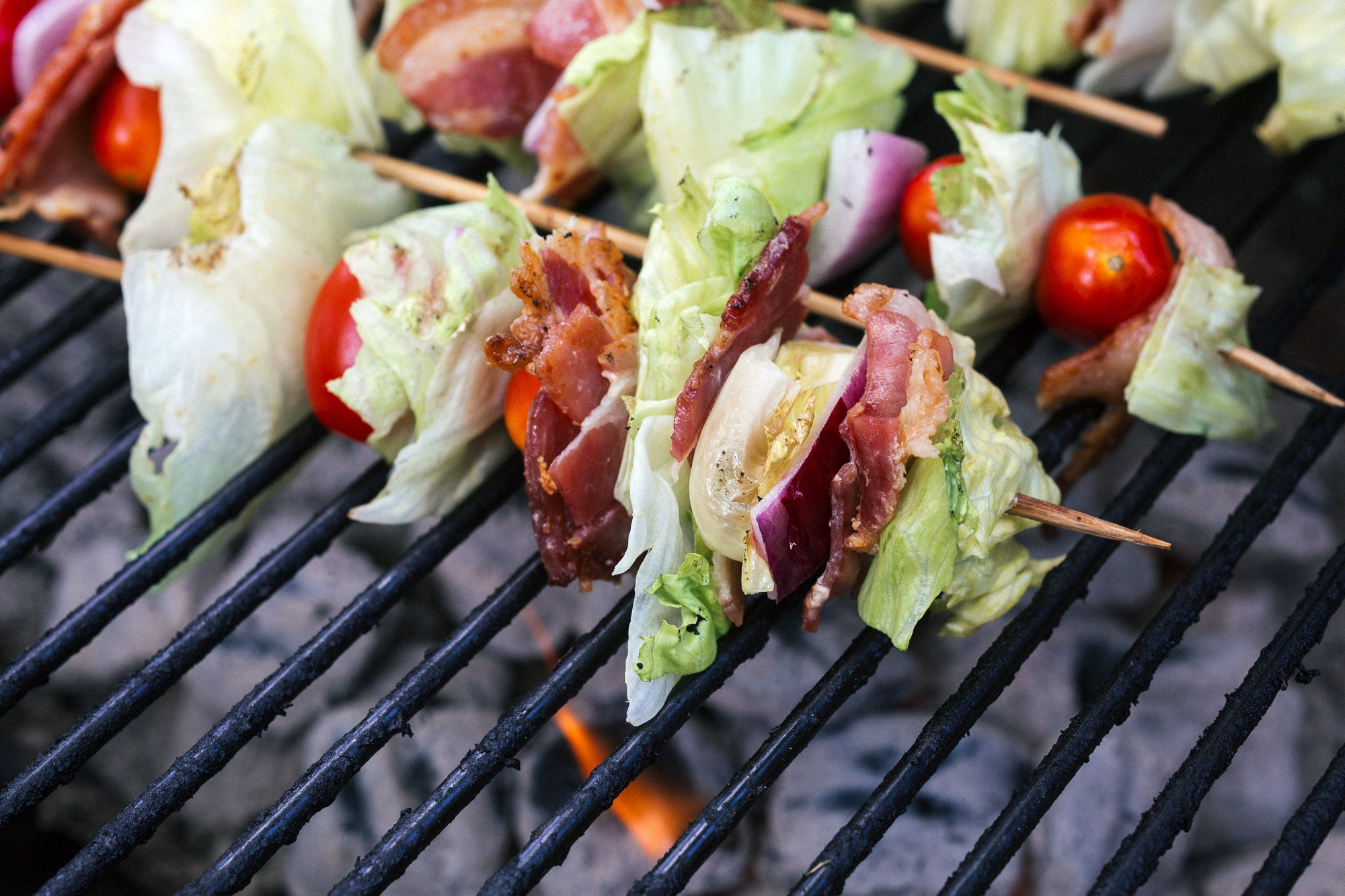 grilled wedge salad skewers on the grill