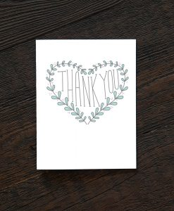heart of laurels thank you card handmade greeting cards pop shop america