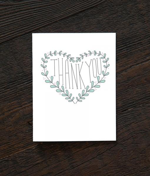 heart of laurels thank you card handmade greeting cards pop shop america