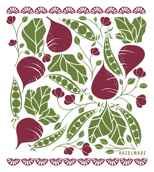 illustration for beets and peas tea towel pop shop america handmade modern
