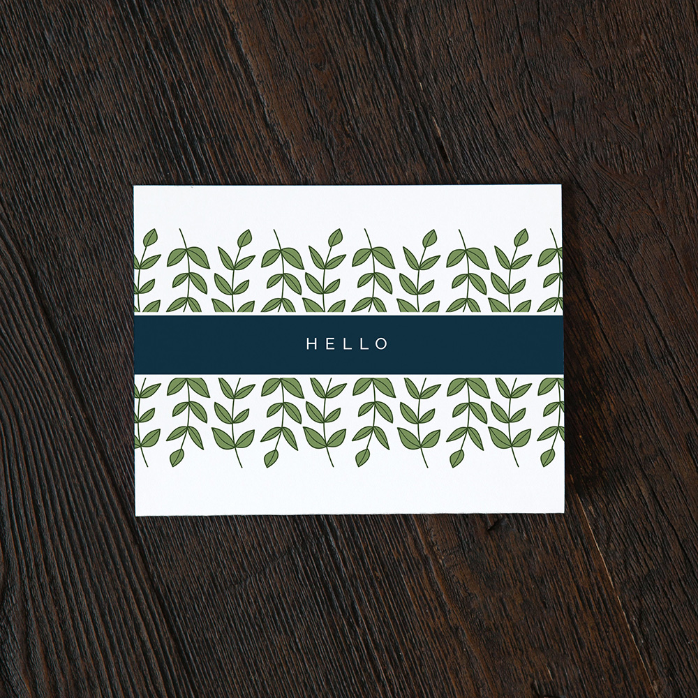Hello Greeting Card With Ivy