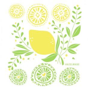 lemon tea towel by hazelmade illustration