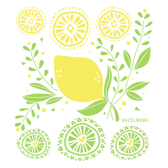lemon tea towel by hazelmade illustration