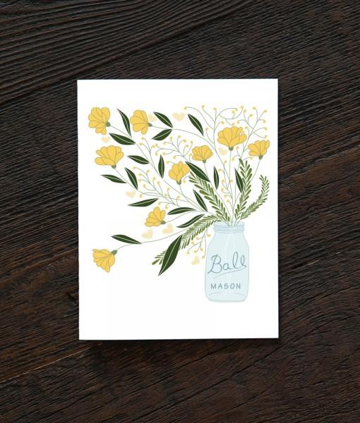 mason jar flower bouquet handmade cards at pop shop america