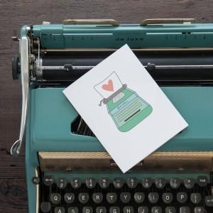 styled photo love letter & typewriter handmade greeting card