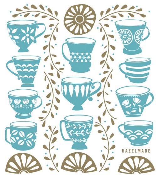 tea cups & gold ivy tea towel illustration pop shop america handmade