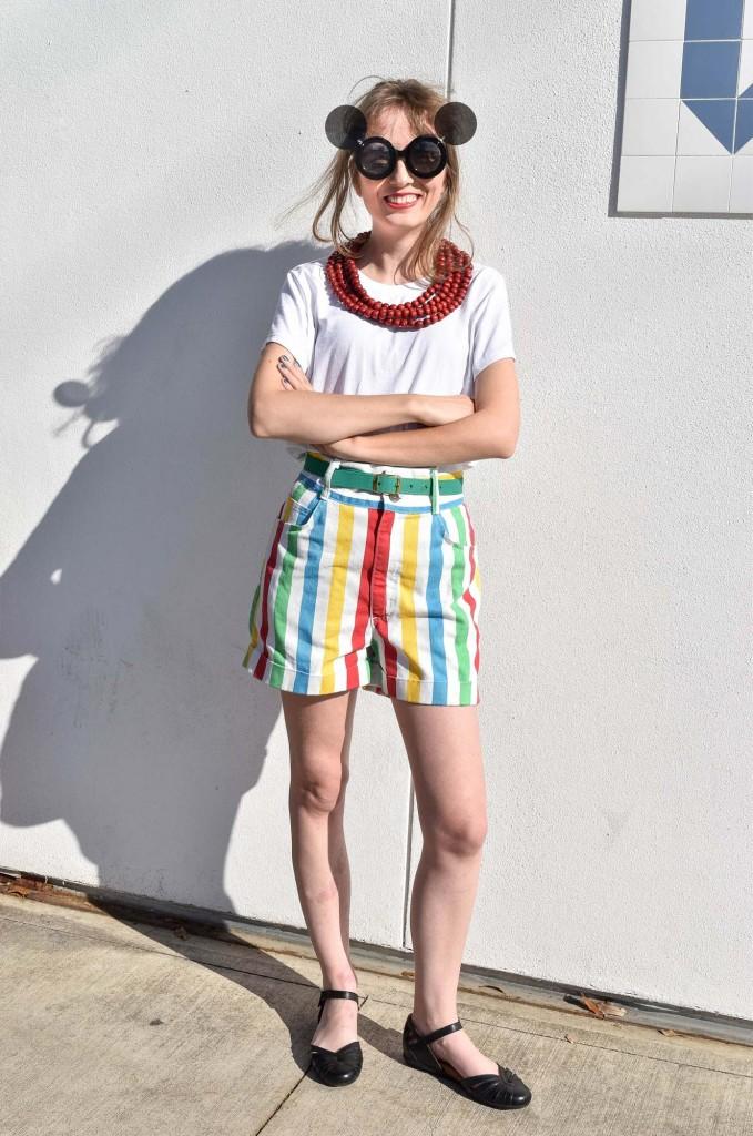 Houston blogger vintage clothing striped shorts Sofia Emm