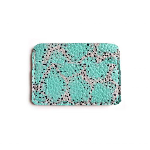 abstract art mint leather wallet business card holder