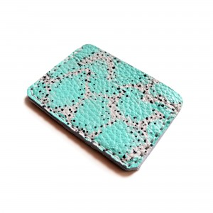 abstract art mint leather wallet edges of the leather