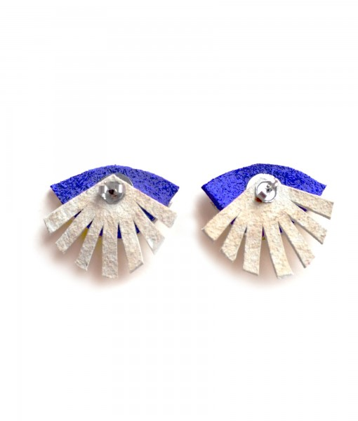 back of leather blue seeing eye stud earrings handcrafted jewelry