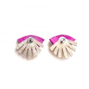 back of purple seeing eye stud earrings leather jewelry