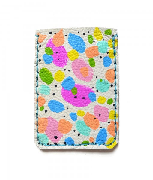 back of rainbow candy dots leather wallet handcrafted leather goods