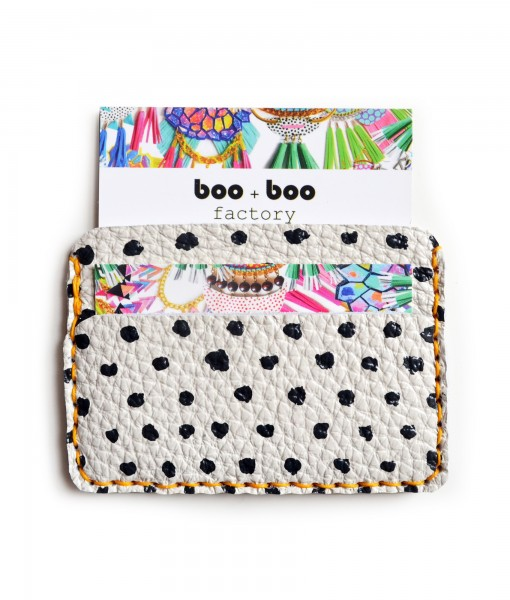 black and white polka dot leather wallet