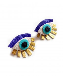 blue seeing eye stud earrings leather earrings