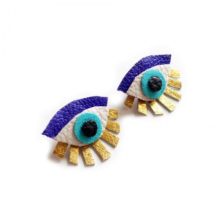 blue seeing eye stud earrings leather earrings
