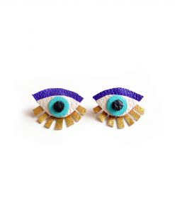 blue seeing eye stud earrings leather jewelry