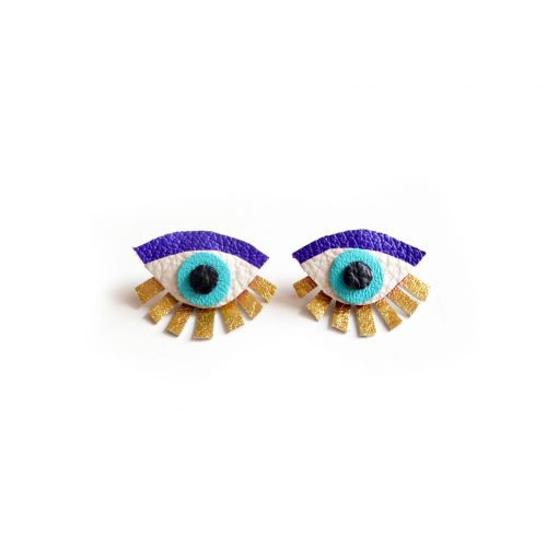 blue seeing eye stud earrings leather jewelry