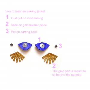 how to wear the blue seeing eye stud earrings instructions