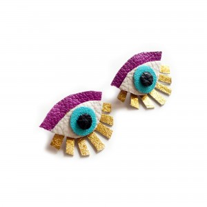purple evil eye leather earrings diy gift shop
