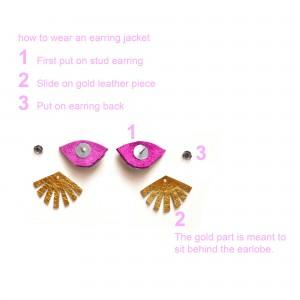 purple leather evil eye stud earrings seeing eye ear jackets