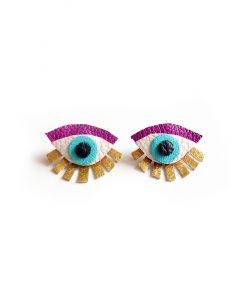 purple seeing eye stud earrings ear jacket