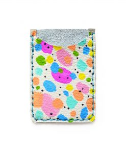 rainbow polka dot leather card holder 1