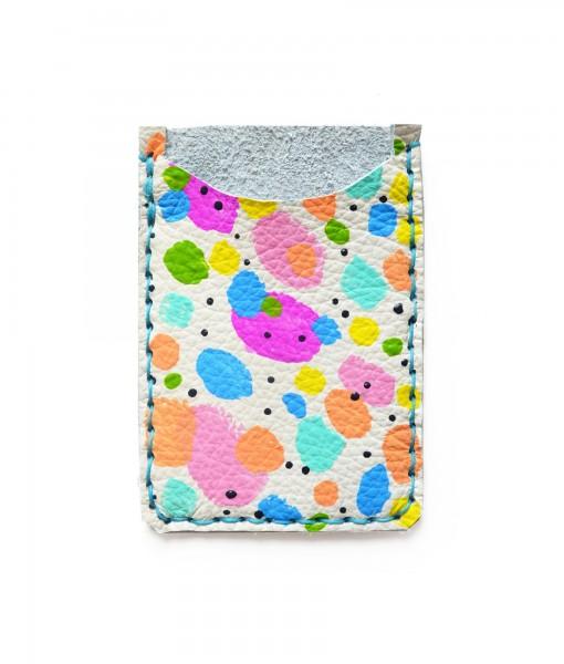 rainbow polka dot leather card holder 1