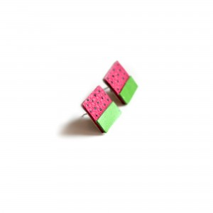 side view of leather watermelon stud earrings pop shop america handmade boutique