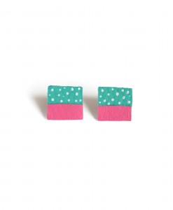 square stud earrings teal & pink leather earrings