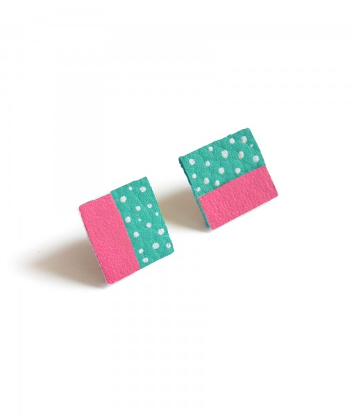 teal & pink color block stud earrings square leather studs