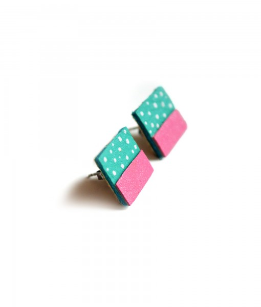 teal & pink stud earrings side view of leather studs