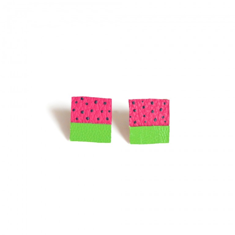 watermelon hand painted leather stud earrings leather jewelry