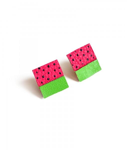 watermelon stud earrings leather jewelry